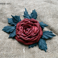 Deep Red Rose leather flower brooch, leather jewelry, leather flower corsage