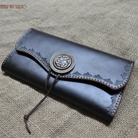 Leather wallet, Ladies long wallet in Black with tooled decorative ornamentation