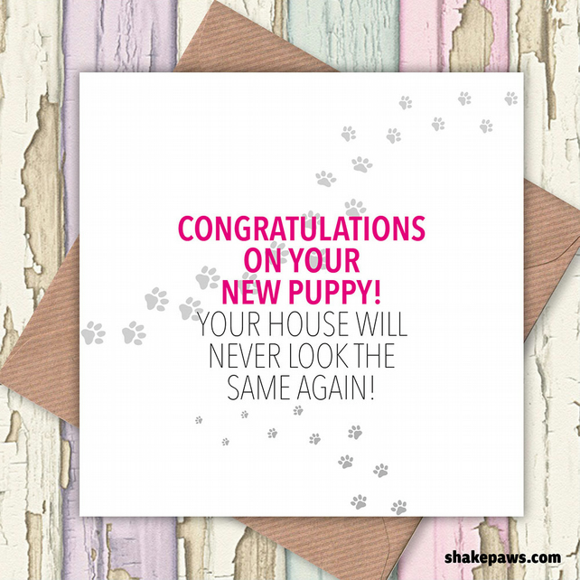 New dog, puppy congratulations card – 'Your House will Never be the Same Again'