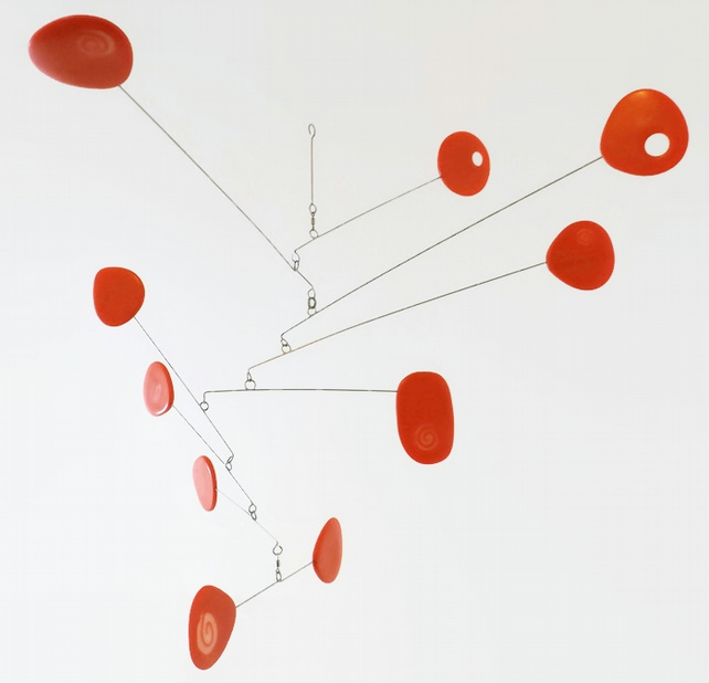 Modern Hanging Mobile, Orange, Kinetic Mobile, Calder Style