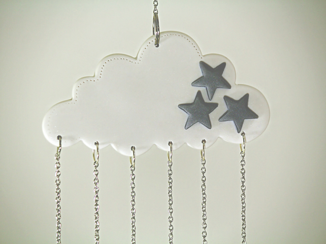 Cloud Mobile, Cloud Decor, Hanging Mobile, Nursery Crib Mobile