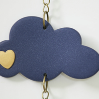 Blue and Gold Baby Cloud Mobile Strand