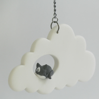 Cat in Cloud Mobile, Cloud Decor, Mobiles, Baby Shower, Modern Nursery