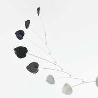 Modern Mobile White Grey and Black Leaf Modern Kinetic Mobile