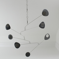 Grey Modern Mobile, Grey Silver and Black Mobile, Calder style