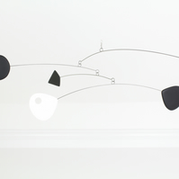 Mobile Modern Kinetic Black White Red Mobile, Calder Style, Hanging Mobile