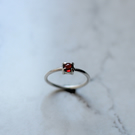Sterling Silver Claw Set Garnet Ring