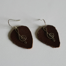 Leather Plectrum and Sterling Silver Treble Clef Earrings