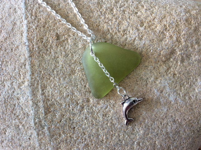 Sea glass with dolphin