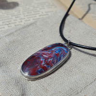 1960's Bowlerite Pendant, sterling silver, bezel, upcycle, recycle
