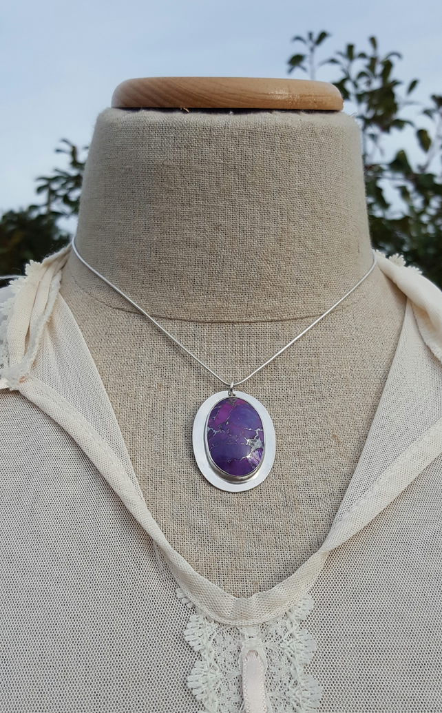 Purple Turquiose Pendant, sterling silver, bezel, natural gemstone