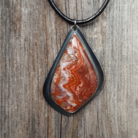 Red Lace Agate Pendant, sterling silver, bezel, agate