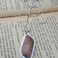 Fossilized Coral Pendant, sterling silver, bezel, fossil