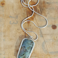 Hungarian Blue Moss Pendant, sterling silver, bezel, agate