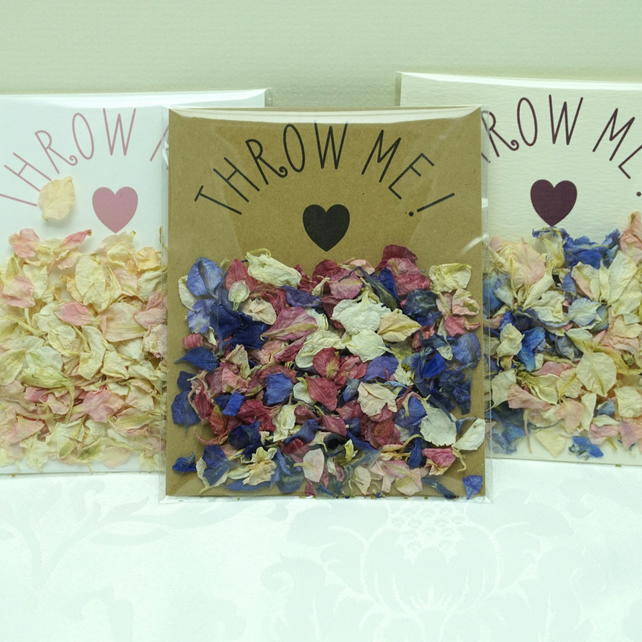 Set of 20 Throw Me! Biodegradable Dried Petal Wedding Confetti Envelopes