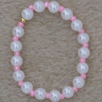 "Acrylic Pearl and Glass Seed Bead 6"" 15cm Elastic Bracelet in Pearl Shine Pink"