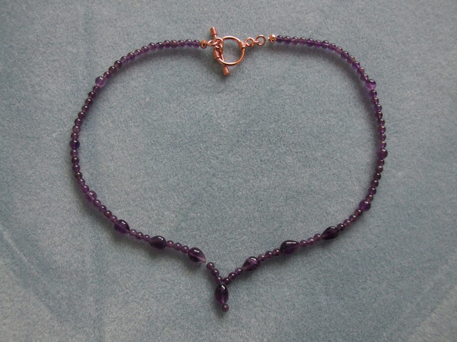 FREE UK P&P Handcrafted Necklace in Amethyst