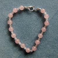 FREE UK P&P Handcrafted Rose Quartz Bracelet