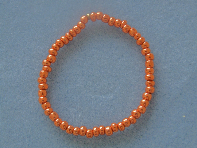 FREE UK P&P Handcrafted Glass Seed Beads Elastic Bracelet Copper