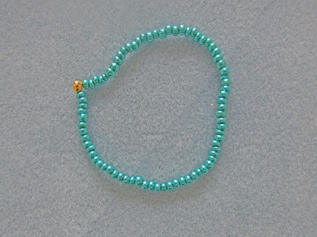 FREE UK P&P Glass Seed Beads Elastic Anklet Metallic Sea Green