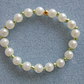 Handcrafted Acrylic Pearl and Glass Seed Bead Elastic Bracelet in Metallic Green