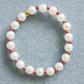Handcrafted Acrylic Pearl & Seed Bead Elastic Bracelet in Metallic Red FREE P&P