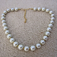 Chunky Vintage Style Handcrafted Necklace Quality Glass Pearls in Ivory and Gold