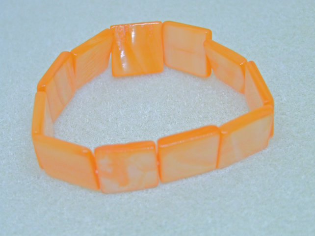 FREE UK P&P Shell Cuff Bracelet in Orange Elasticated