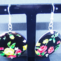 Silver Plate Mother of Pearl Earrings with Floral Design.