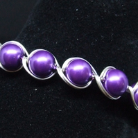 FREE UK P&P Amethyst Glass Pearl Cuff Bracelet wrapped in Silver Plated Wire.