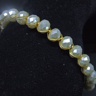 FREE UK P&P Ivory Faceted Glass Pearl Cuff Bracelet wrapped Gold Plated Wire.