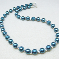 FREE UK P&P Montana Glass Pearl Necklace with Silver Spacer Beads Handcrafted