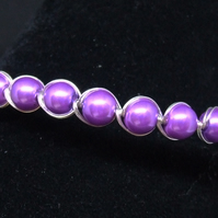 FREE UK P&P Lilac Glass Pearl Cuff Bracelet wrapped in Silver Plated Wire.