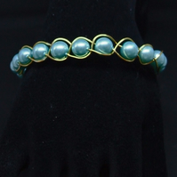 FREE UK P&P Aqua Glass Pearl Cuff Bracelet wrapped in Silver Plated Wire.