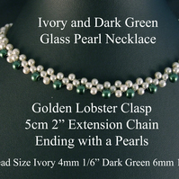 "36cm 14.5"" Long - Ivory & Dark Green Glass Pearl Necklaces Golden Lobster Clasp"