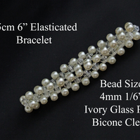 "15cm 6"" Long Ivory Glass Pearl and Clear Glass Bicone Bead Elasticated Bracelet"