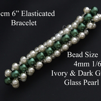 "15cm 6"" Long - Ivory and Dark Green Glass Pearl Elasticated Bracelet."