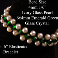 "15cm 6"" Ivory Glass Pearl and Emerald Green Glass Crystal Bead Elastic Bracelet"