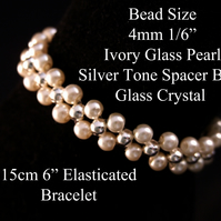 "15cm 6"" Long Ivory Glass Pearl and Silver Tone Spacer Bead Elasticated Bracelet"