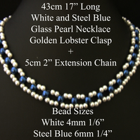 "43cm 17"" Long White and Steel Blue Glass Pearl Necklace Golden Lobster Clasp 2"""