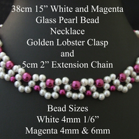 "38cm 15"" Long - White and Magenta – Glass Pearl Necklaces Golden Lobster Clasp"