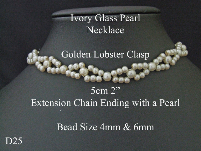 "37.5cm 15"" Ivory Glass Pearl and Bracelet Necklace Lobster Clasp Extension Chain"