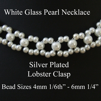 "40cm 16"" Long - 4mm & 6mm White Glass Pearl Necklace with Silver Plated Lobster"