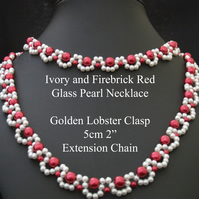 "40cm 16"" - Ivory and Firebrick Red – Glass Pearl Necklaces Lobster Clasp Ext. Ch"