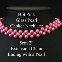 "40cm 16"" - Hot Pink Glass Pearl Necklaces Lobster Clasp & Extension Chain"