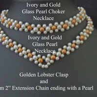 "38cm 15"" Ivory and Peru Gold – Glass Pearl Bracelets and Necklaces Lobster Clasp"