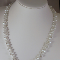 "Handmade 22"" 55cm White Glass Pearl Necklace Silver Plated Lobster Clasp"