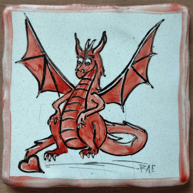 Red Dragon, handmade and hand painted tile