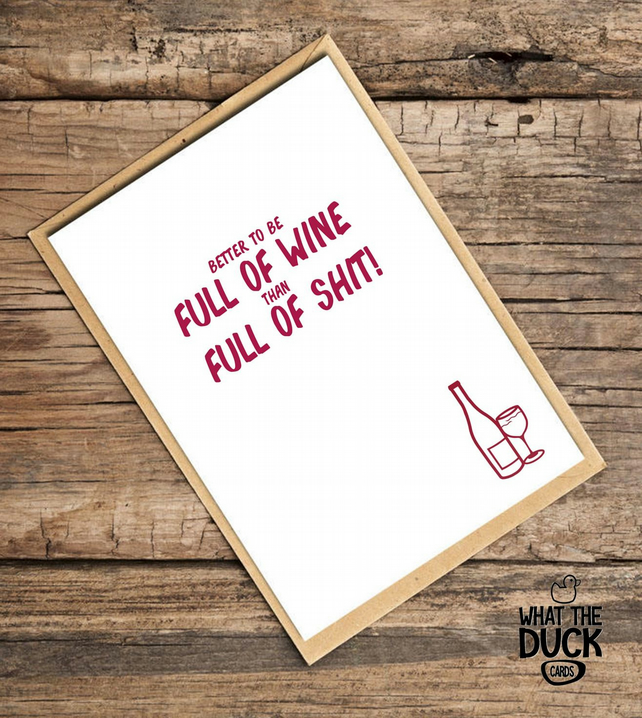 'Wine' Universal Card, What The Duck Cards, Funny Cards, Rude Cards