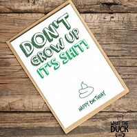 'Grow' Birthday Card, What The Duck Cards, Funny Cards, Rude Cards